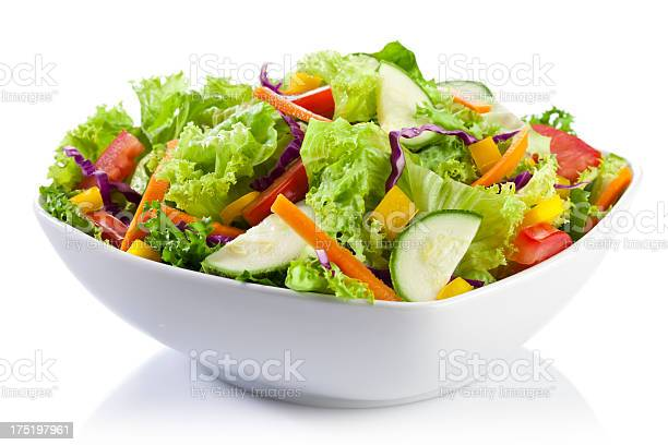 Fresh Salad Plate on White Background