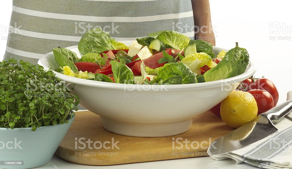 salad preperation stock photo