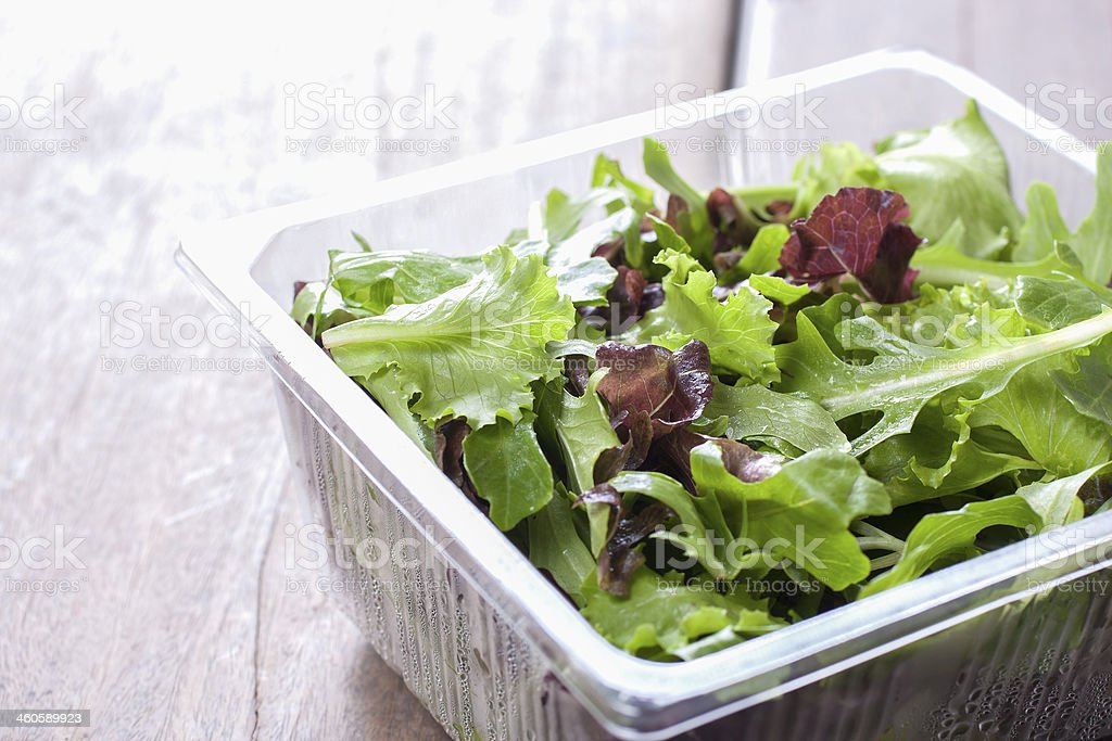 Salad, ready to eat from the supermarket. stock photo