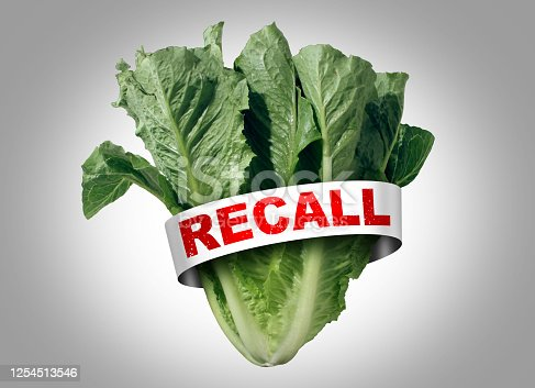 Salad recall as romaine lettuce e coli outbreak food poisoning as a vegetable cyclospora contamination or dangerous bacteria as a public health risk with 3D illustration elements.