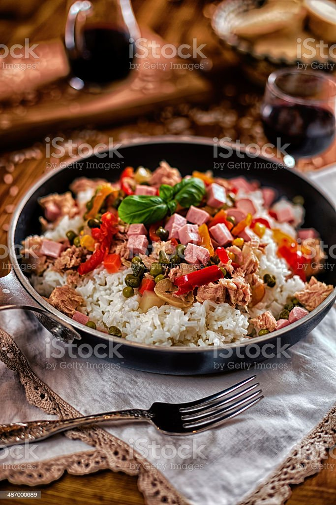 Salad rice in the pan stock photo