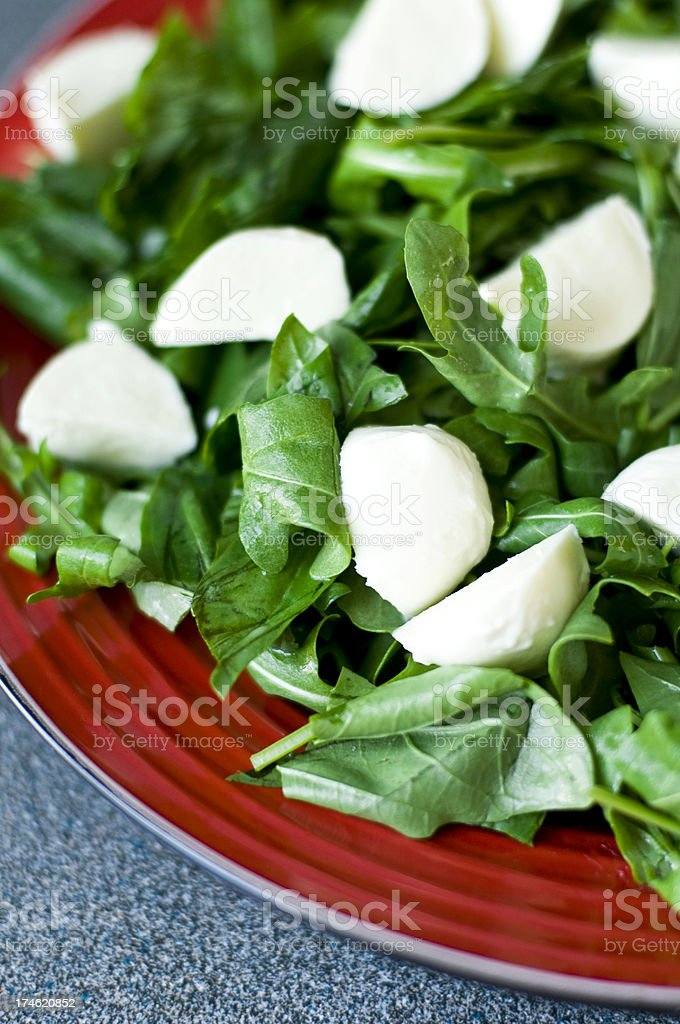Salad Rocket bocconcini simle on red platter royalty-free stock photo