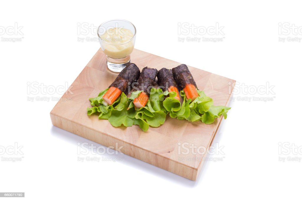 Salad roll vegetables with seaweed wrap. stock photo