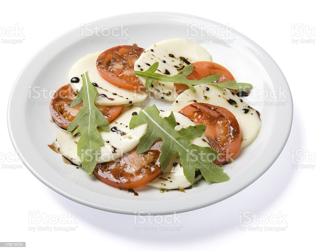Salad served on white plate. royalty-free stock photo