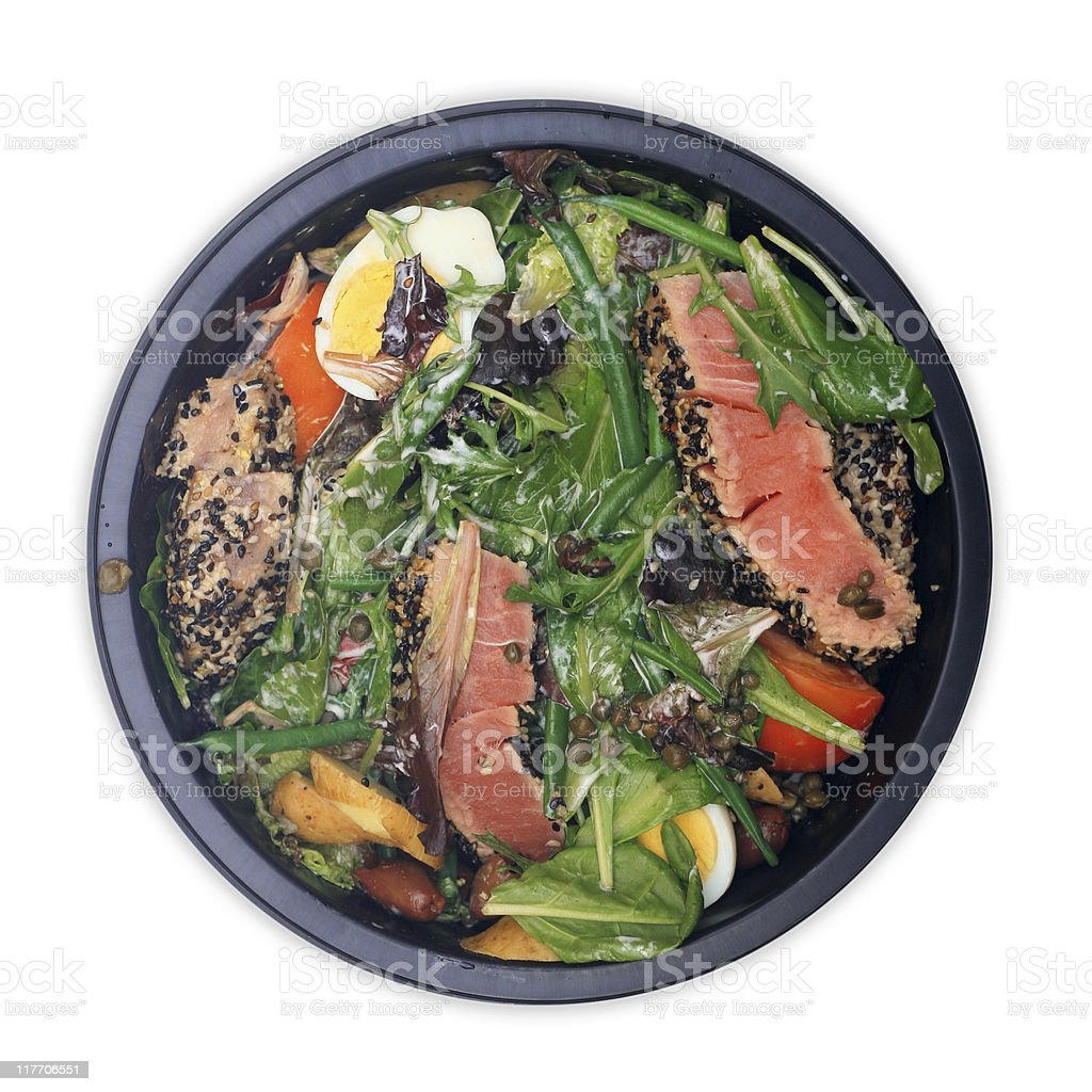 Salad: Sesame Tuna, Field Greens, Haricots Verts, Capers, Calamata Olives stock photo