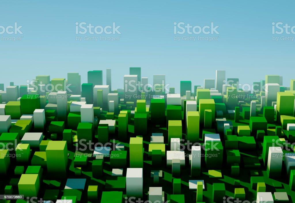 Salat-Square Variation Muster abstrakt 3D Stadtbild – Foto