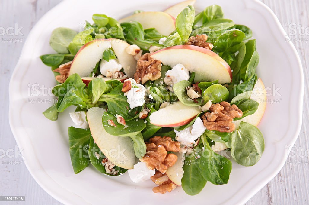 salad with apple and walnut stock photo