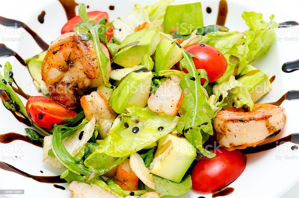 salad with avocado and shrimps royalty-free stock photo