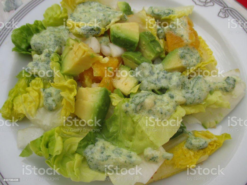 Salad with avocado orange white onion  Yogurt sauce stock photo