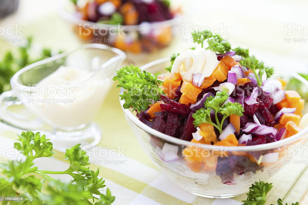 salad with baked vegetables and herring royalty-free stock photo