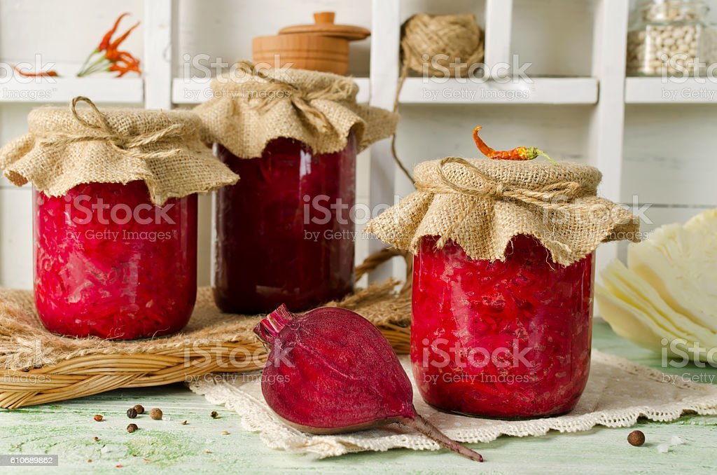 Salad with cabbage and beets stock photo