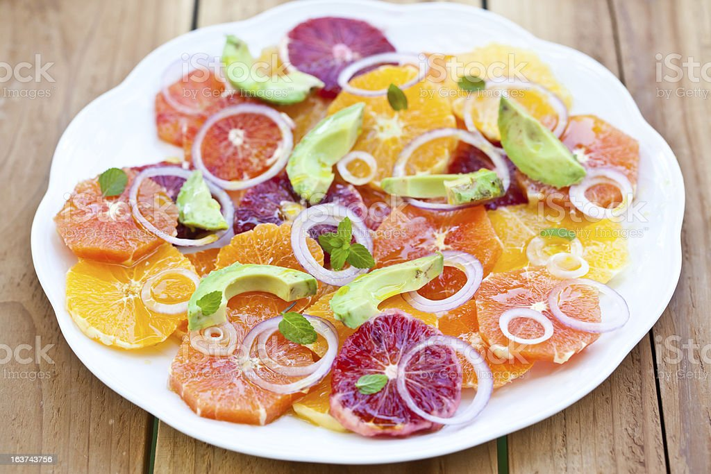 Salad with Citrus Fruits, Avocado and Onion. royalty-free stock photo