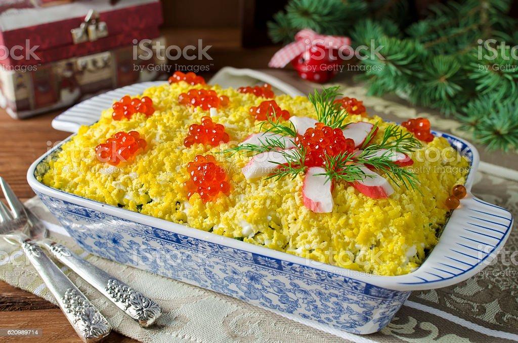 Salada de caranguejo de cenoura e caviar foto royalty-free