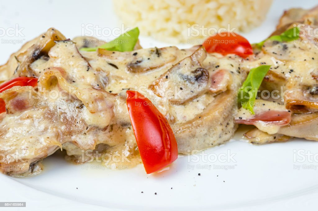Salad with cream sauce and beef tongue royalty-free stock photo