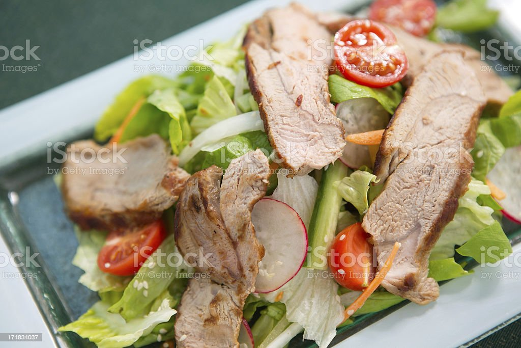 Salad with meat slices. royalty-free stock photo
