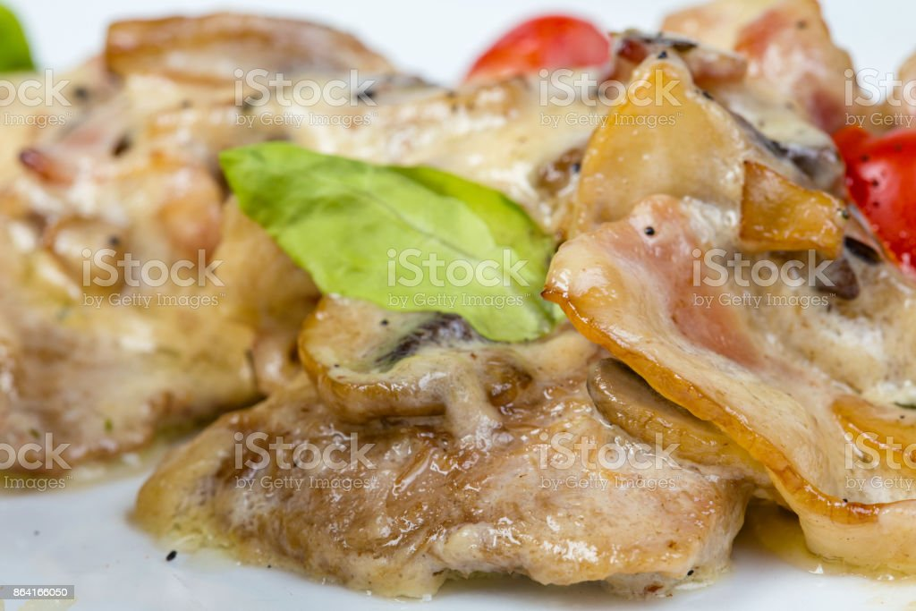 Salad with mushrooms and beef meat royalty-free stock photo