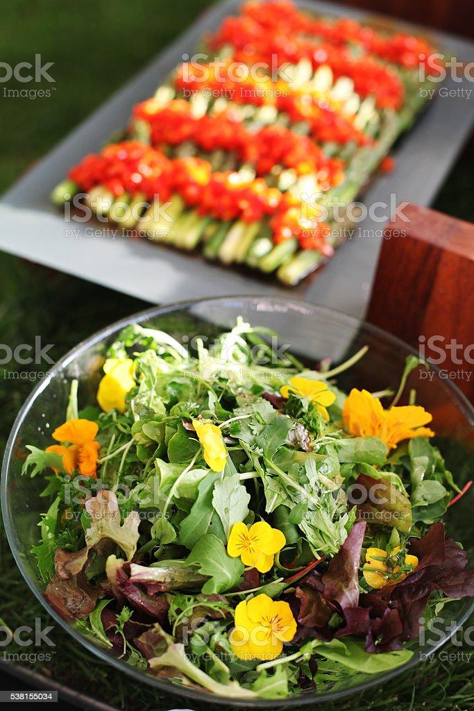 Salad with nasturtiums stock photo