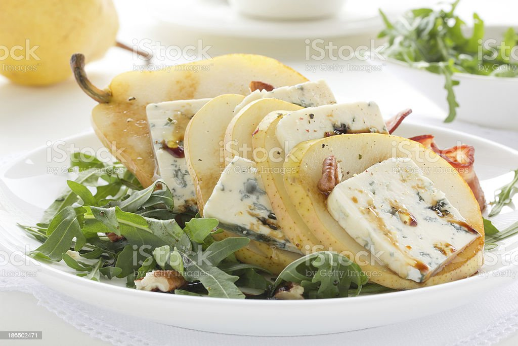 Salad with pear and Gorgonzola. royalty-free stock photo