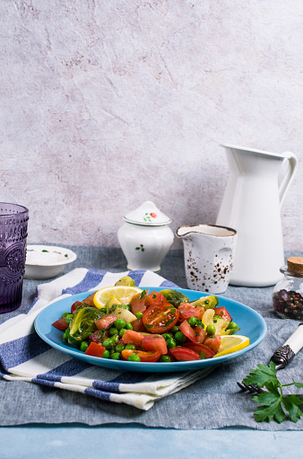Salad With Raw Slices Of Vegetables Stock Photo - Download Image Now