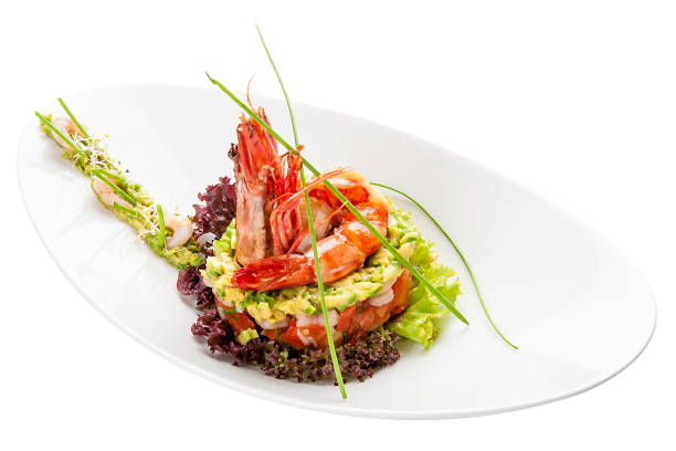 Salad with royal shrimps and avocado on white background picture id1224841515?b=1&k=6&m=1224841515&s=612x612&w=0&h=ow6zs6aditlw8omcxsvirs2k6i qsby8r5xwhxtnt34=