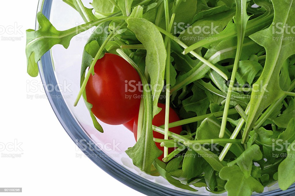 Salad with rugola and cherry tomato w/ clipping path royalty-free stock photo