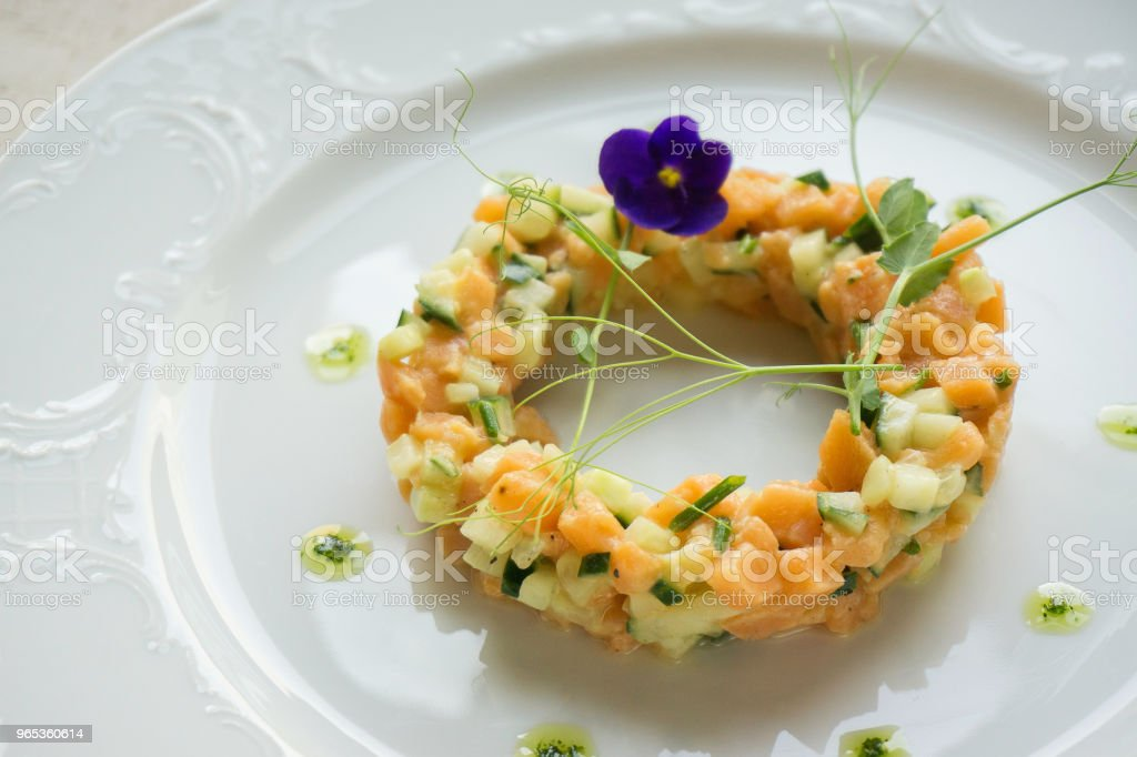 salad with salmon and cucumber royalty-free stock photo
