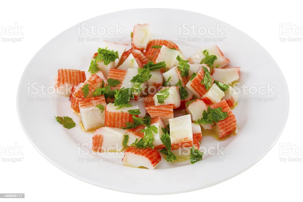 salad with seafood on the plate stock photo