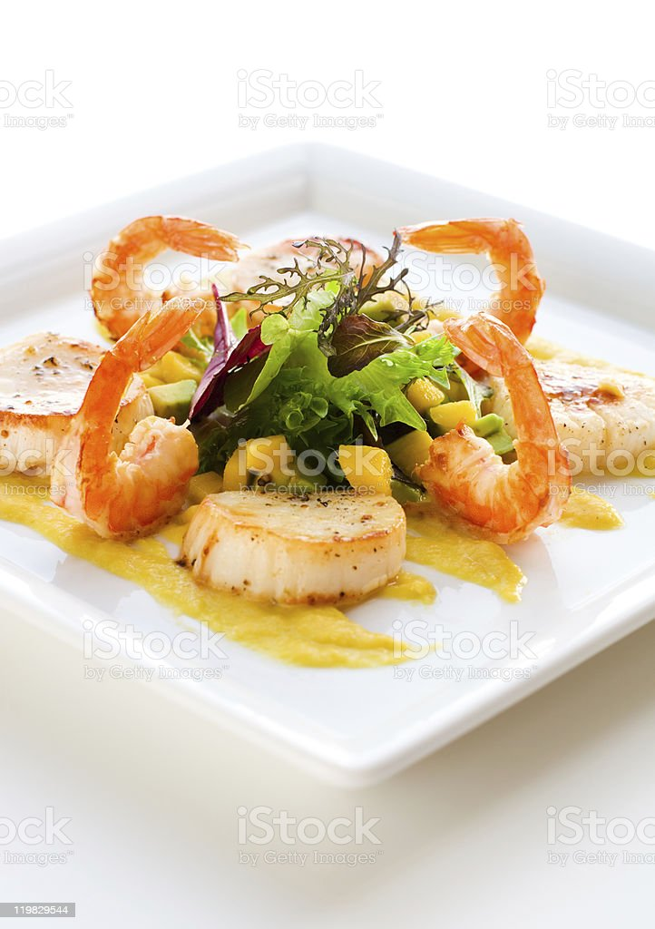 salad with shrimp and scallop royalty-free stock photo