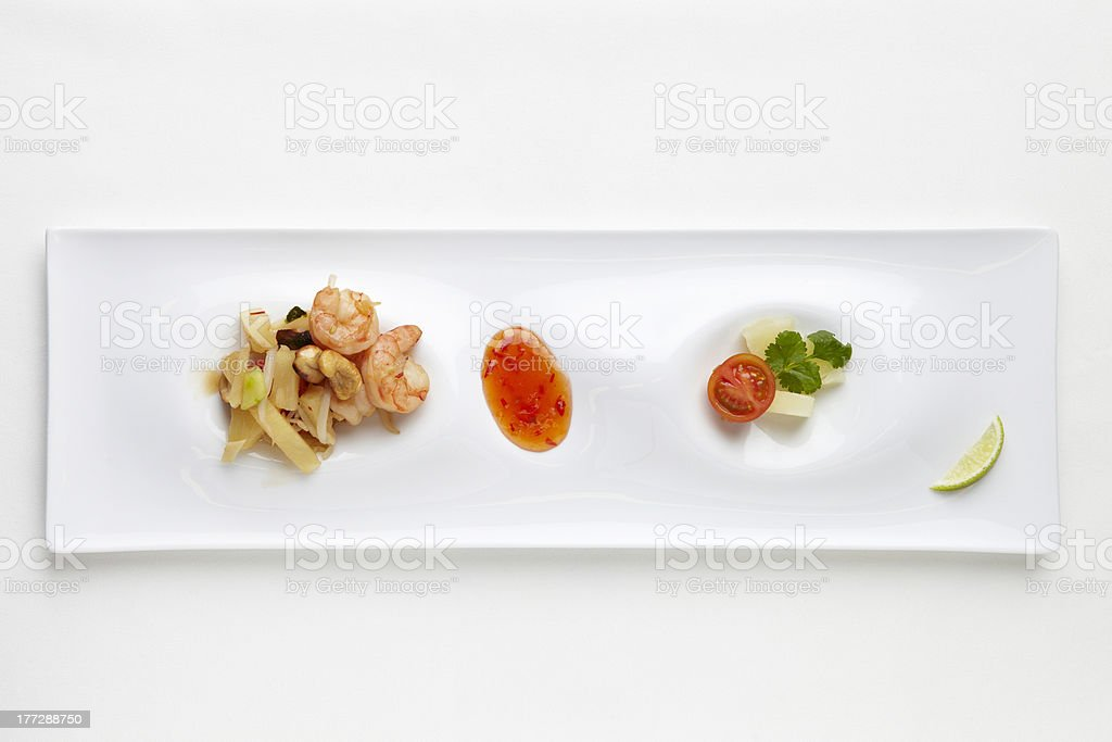 salad with shrimps and bamboo royalty-free stock photo