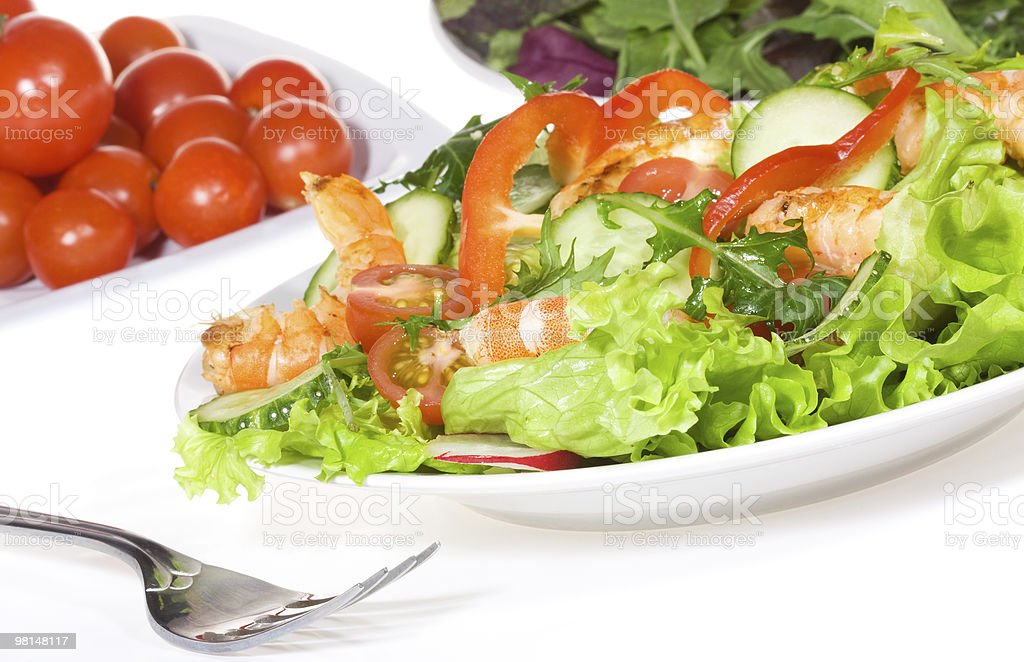 salad with shrimps and vegetables royalty-free stock photo