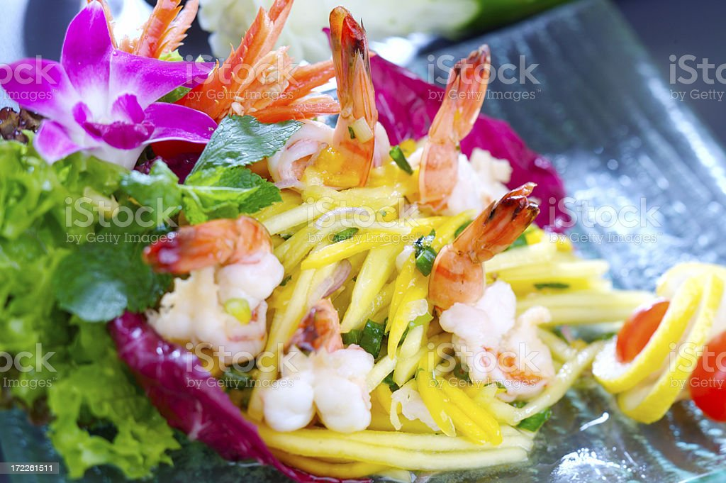 Salad with shrimps, mango and mint royalty-free stock photo