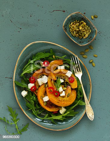 Salad With Slices Of Baked Pumpkin Feta Pepper Stock Photo & More Pictures of Appetizer