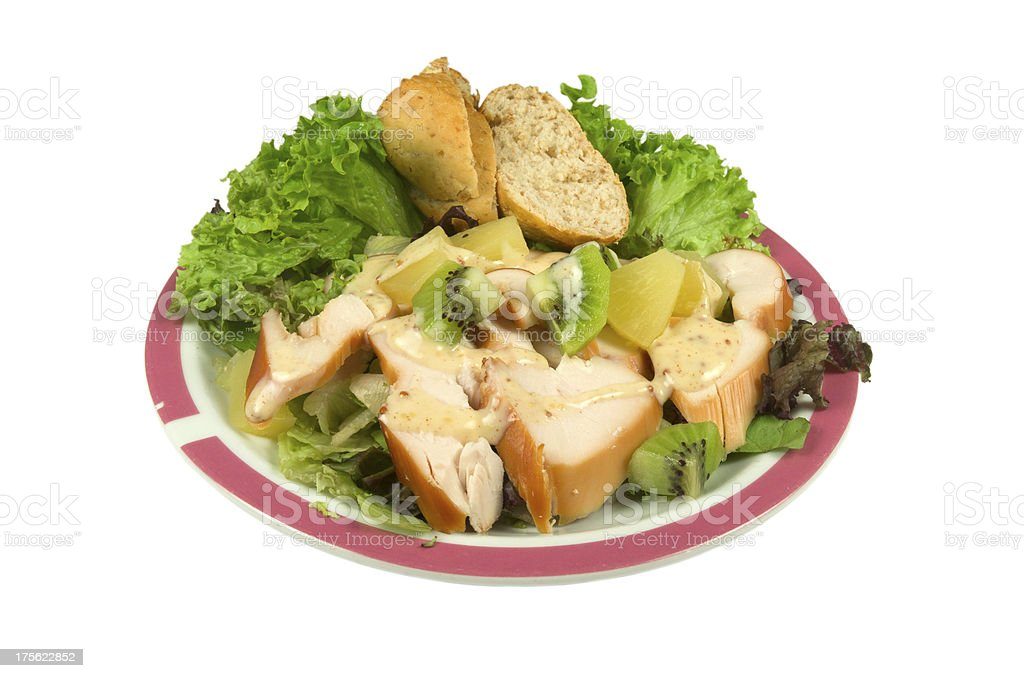 Salad with smoked chicken and pineapple. stock photo