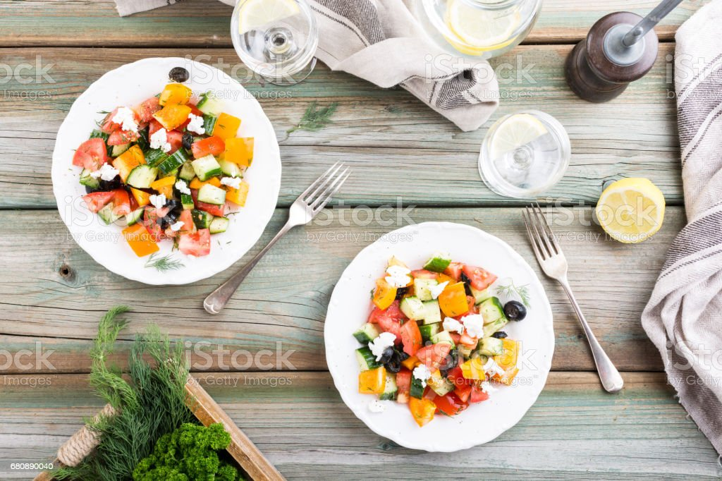 Salad with soft goat cheese royalty-free stock photo