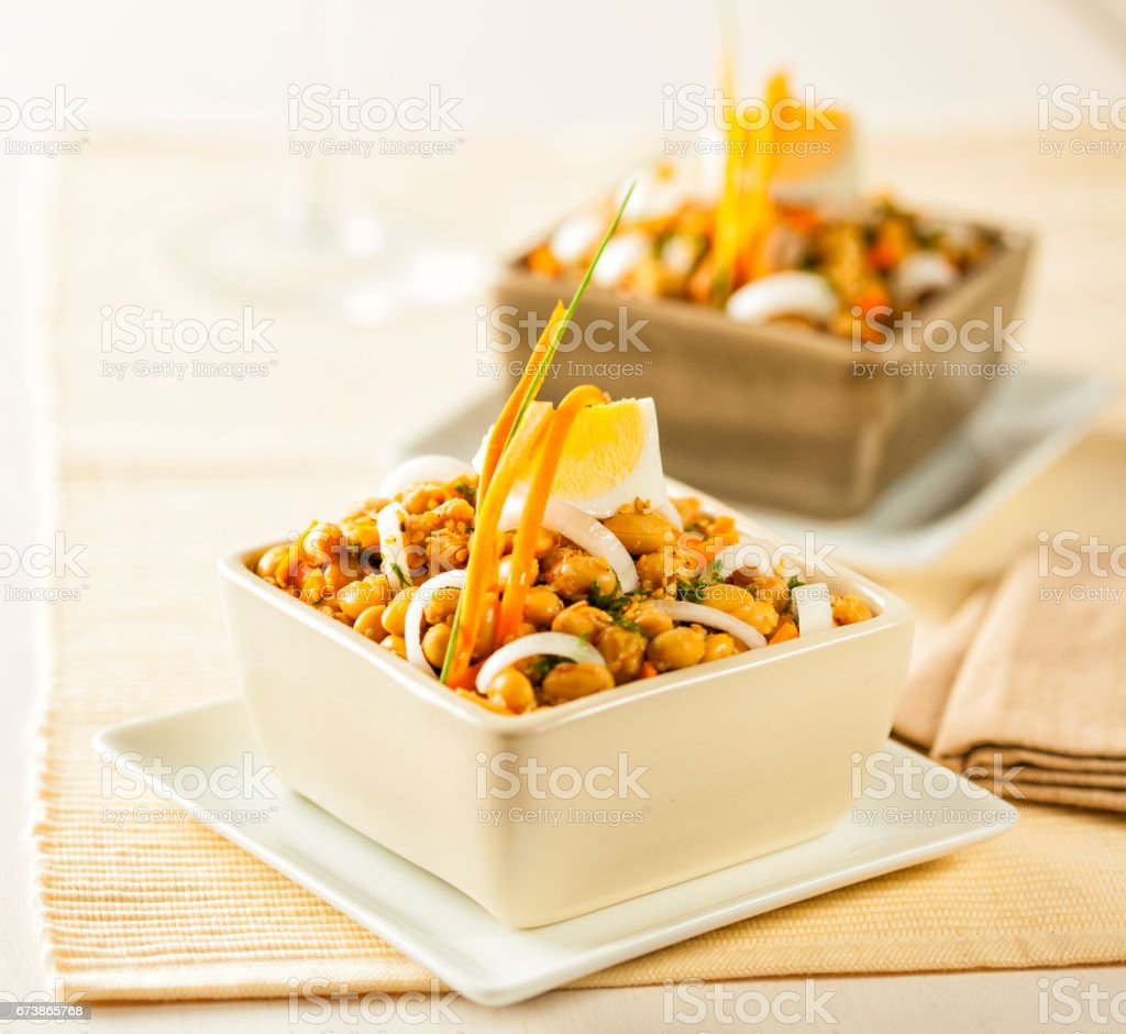 Salad with soy bean sprouts stock photo