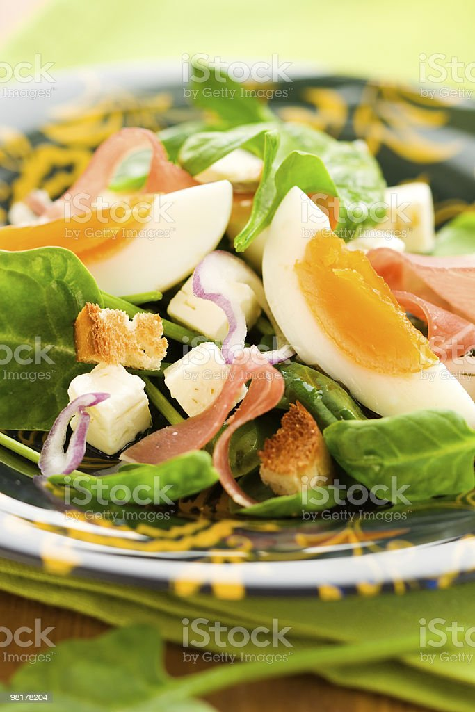 salad with spinach,egg and ham royalty-free stock photo