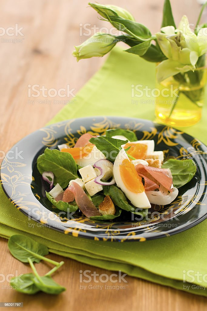 salad with spinach,egg,ham royalty-free stock photo
