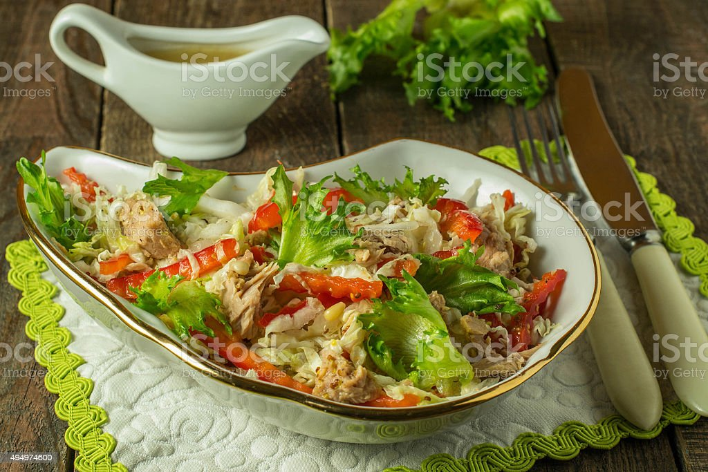 Salad with tuna and red pepper stock photo