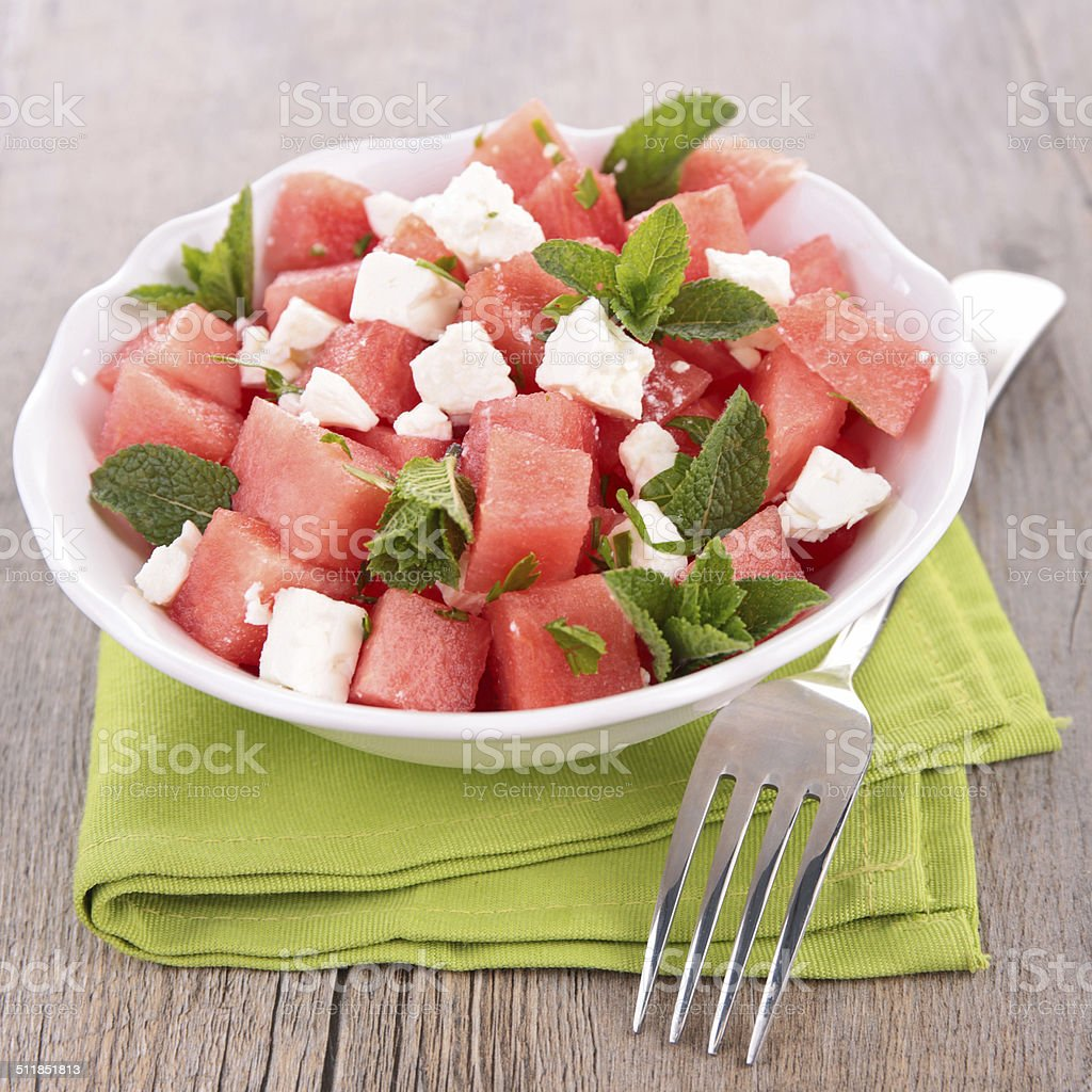 salad with watermelon and feta stock photo