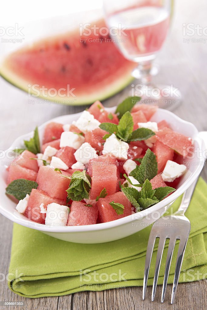 salad with watermelon, feta cheese and mint stock photo