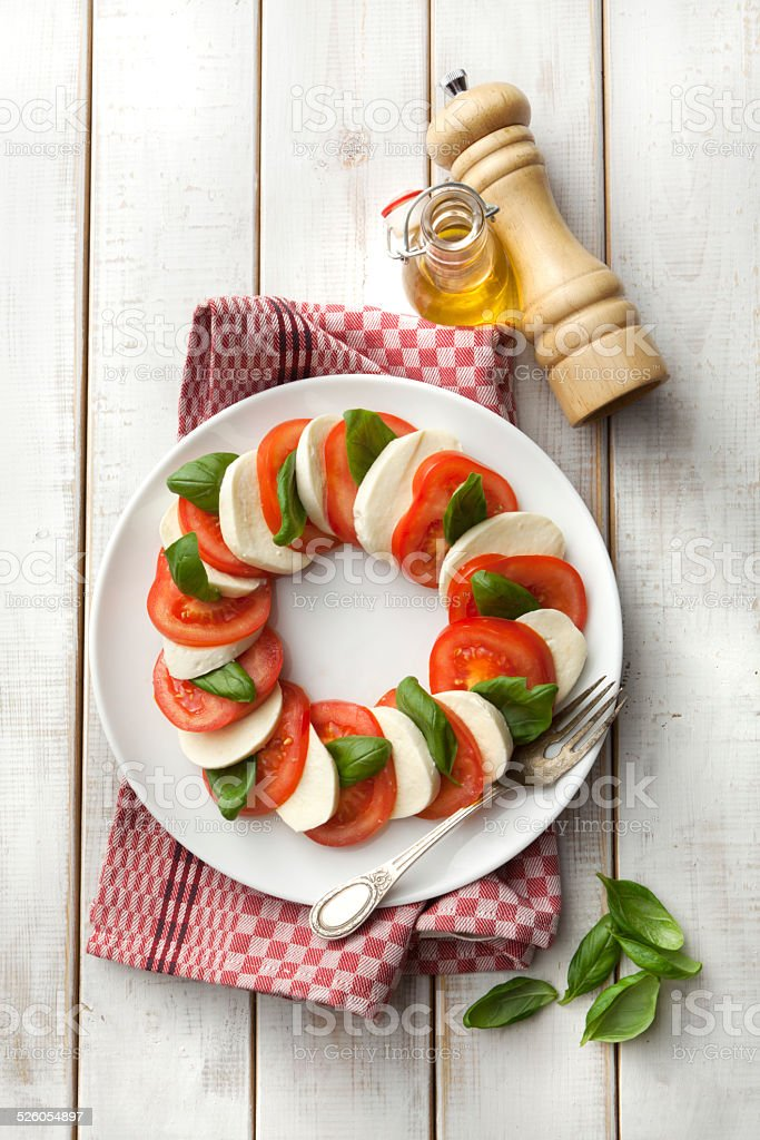 Salads: Caprese Salad Still Life stock photo