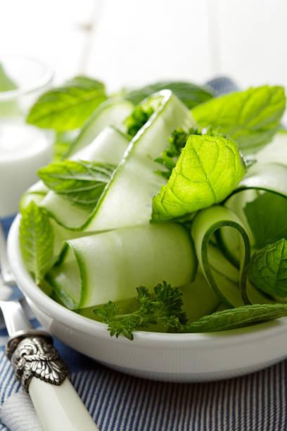 Salads: Cucumber Salad Still Life stock photo