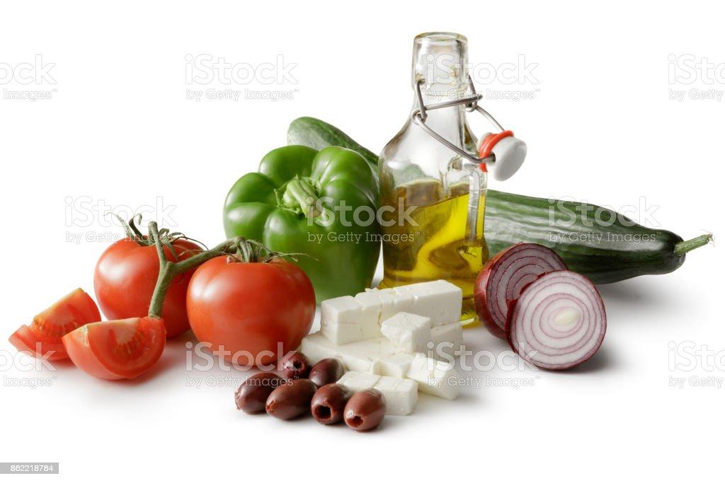 Saladas: Ingredientes para a salada grega, isolado no fundo branco - foto de acervo