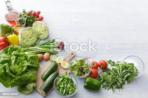 Salads: Ingredients for Salad Still Life