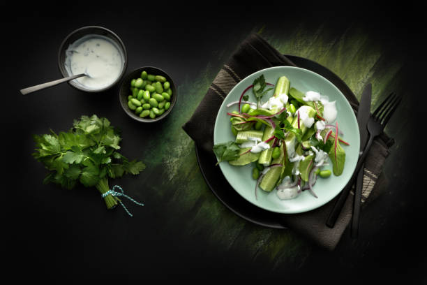 Salads: Salad with Cucumber, Lettuce, Soybeans, Parsley and Yoghurt Dressing stock photo