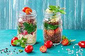 Salads with quinoa in jars