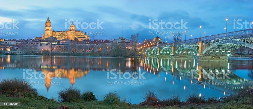 Salamanca - Cathedral and bridge Puente Enrique Estevan Avda stock photo