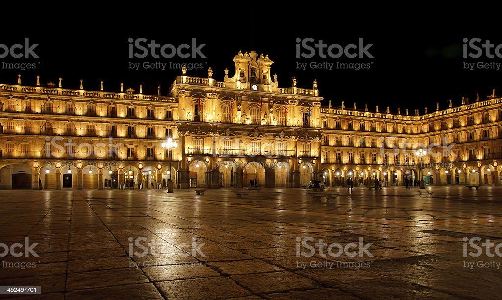 Salamanca main square night stock photo