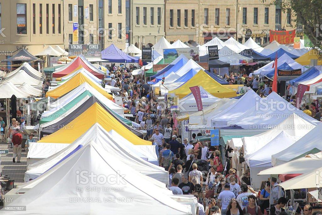 Salamanca Market Hobart Australia stock photo
