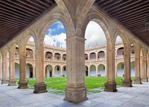 Salamanca - The atrium of Colegio Arzobispo Fonseca.